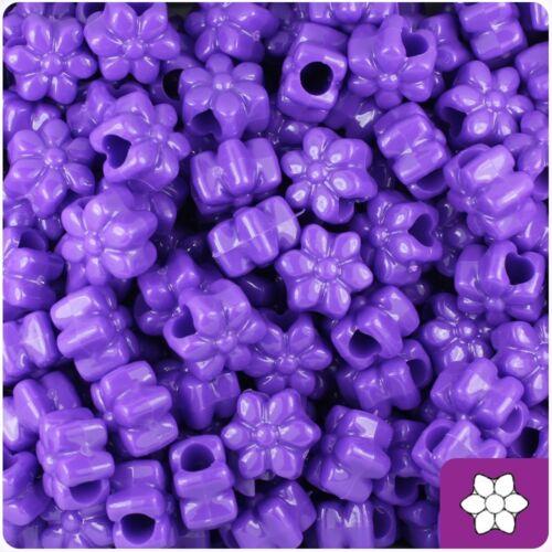 *3 FOR 2* 50 Dark Lilac Opaque Flower Shape 13mm Pony Beads
