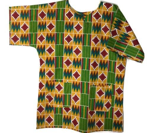 Kente African Print Cotton Dashiki Shirt Top Hippy Ethnic Blouse S M L XL Yellow