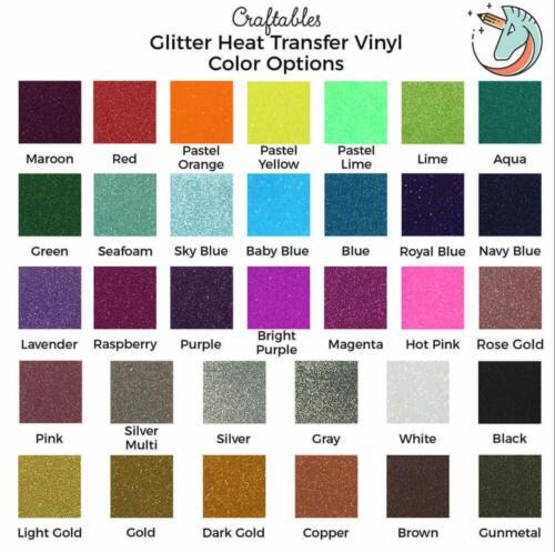 Silhouette Craftables Glitter Heat Transfer Vinyl Roll HTV 8 ft for Cricut