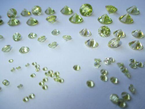 1 CZ Apfelgrün Peridot 7,0 mm Brillantschliff Zirkona synthetischer Edelstein