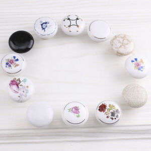 Chic-Flower-Round-Ceramic-Cabinet-Wardrobe-Drawer-Cupboard-Knob-Pull-Handle-CA