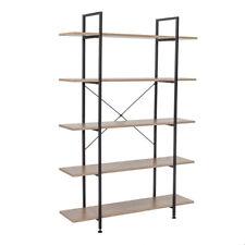 5 Tier Vintage Bookcase Industrial Shelves Wood Metal Bookshelf Media Display Us