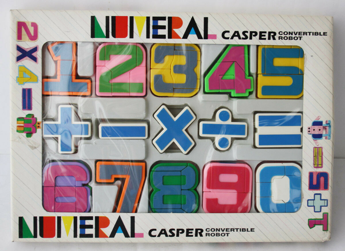 VINTAGE 80'S NUMERAL CASPER CONgreenIBLE ROBOT NUMBERS TRANSFORMING TAIWAN NEW