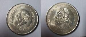 1952 Mexico Large Silver 5 peso Hidalgo-Eagle/Snake-Nice