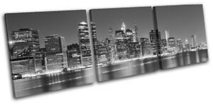 New-York-NYC-Lower-Manhattan-Night-City-TREBLE-CANVAS-WALL-ART-Picture-Print