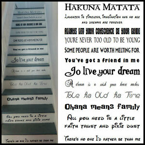 large stair riser stickers disney fonts frozen lion king all favourite quotes ebay. Black Bedroom Furniture Sets. Home Design Ideas