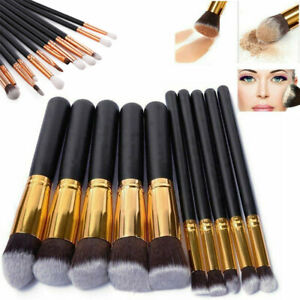 10-12tlg-Kosmetikpinsel-Make-up-PinselSet-Eyeliner-Lidschatten-Lip-Schminkpinsel