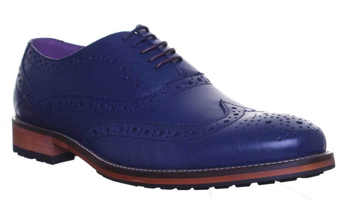 Justin Reece Oliver Men Leather Matt Navy Brogue Shoes UK Size 7 - 12