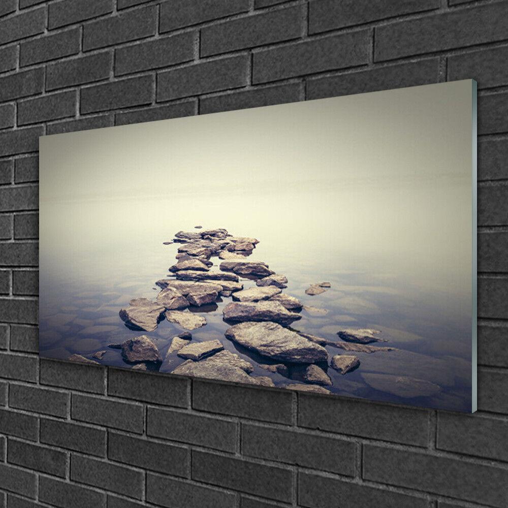 Image sur verre Tableau Impression 100x50 Paysage Pierres Eau