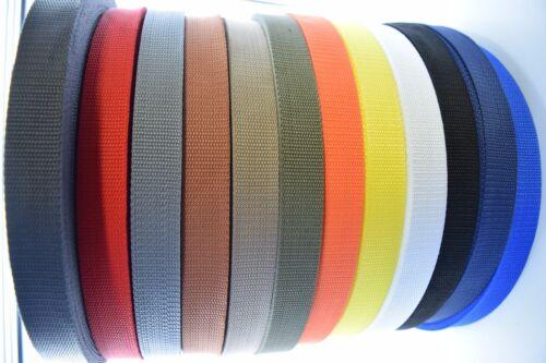 "10 meter x 25mm Polypropylene 1/"" Webbing Strap Dark Grey"