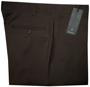 325-NEW-ZANELLA-ITALY-SOLID-CHOCOLATE-BROWN-SUPER-120-039-S-WOOL-DRESS-PANTS-42
