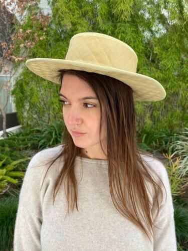 CHANEL Vintage Yellow Quilted Wide Brim Straw Hat