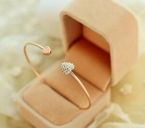 10-x-Gold-Heart-Diamante-Bangles-Wholesale-Joblot-Car-Boot-Quality-Jewellery-UK