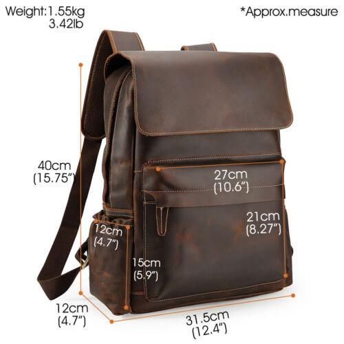 """Vintage Leather Backpack Men Travel 16/"""" Laptop Satchel Daypack Book Shoulder Bag"""