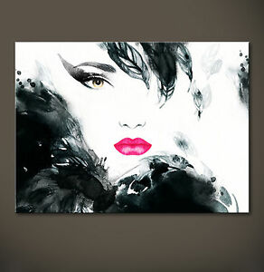 woman portrait leinwand bild schwarz wei modern druck wandbild pop kult frau xl ebay. Black Bedroom Furniture Sets. Home Design Ideas