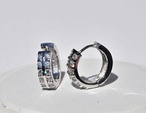 Echt-925-Sterling-Silber-Ohrringe-Creolen-Zirkonia-14-mm-crystal-Nr-337