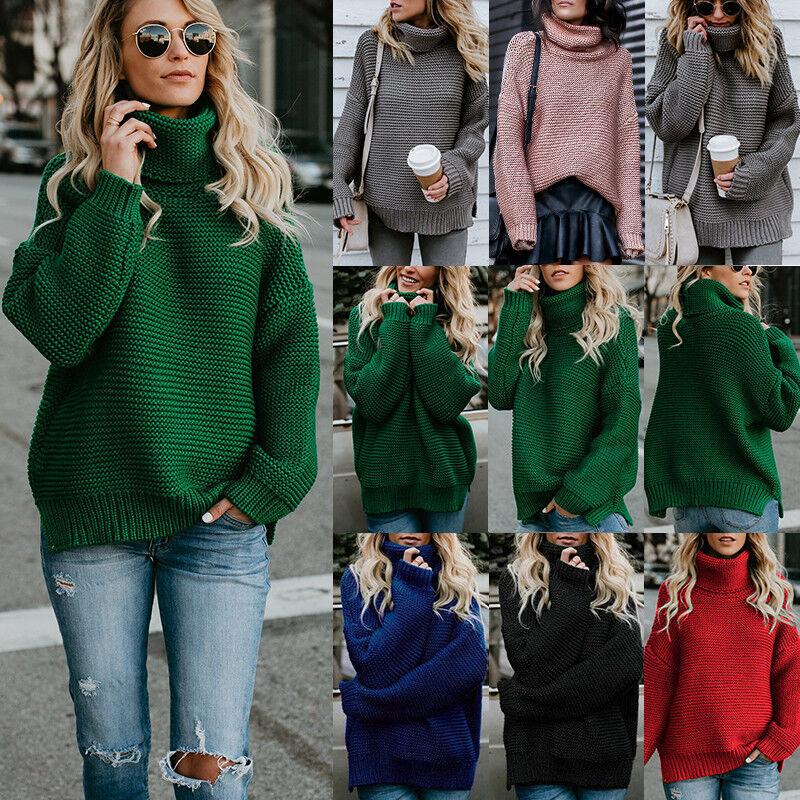 Damen Rollkragen Winter Warm Sweatshirt Sweater Strick Pullover Pulli Top