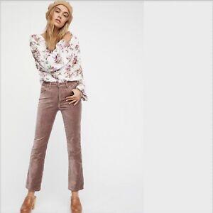 Haute Pants Slim Taille Fp 28 People Rose Free Velvet Taille Flare Taupe Crop Nwt wxqv4UPIz