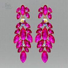 18K Gold Plated Fuchsia Crystal Rhinestone Chandelier Drop Dangle Earrings 05620