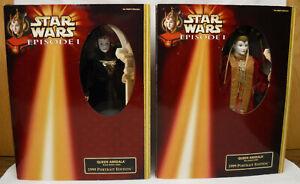 2-Hasbro-Star-Wars-QUEEN-AMIDALA-Dolls-Black-Travel-Red-Senate-Gowns-1999-Ed