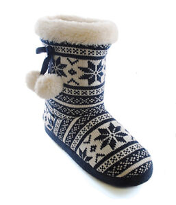 LADIES GIRLS COSY  WINTER FUR POM POM SLIPPERS BOOTS ANKLE BOOTIE SIZE UK 3-8