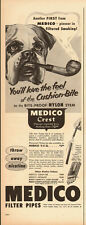 1953 Vintage ad for MEDICO Filter pipes~Bull dog with a pipe (090713)