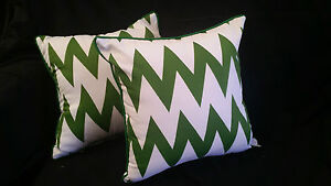 Cotton-Cushion-Covers-Green-White-Stripes-Hand-Made-Zig-Zag-pair-40cm
