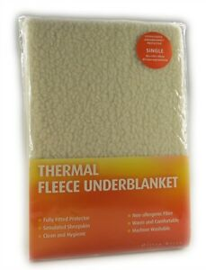 Thermal Fitted Fleece UnderBlanket Mattress Protector Warm And Cosy