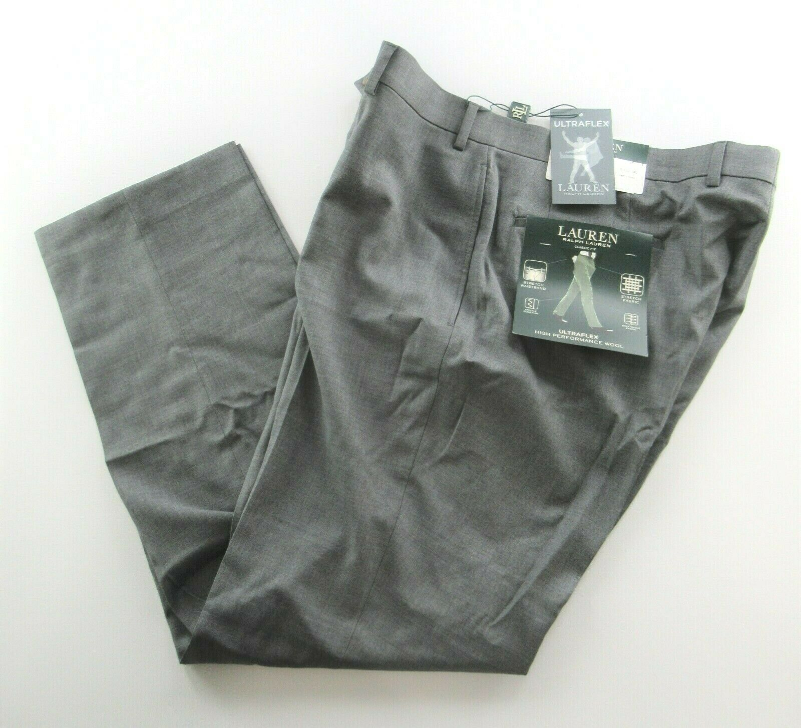 NEW Ralph Lauren 100% Wool Flat Front Dress Pants Mens 30 x 30 Wool NWT