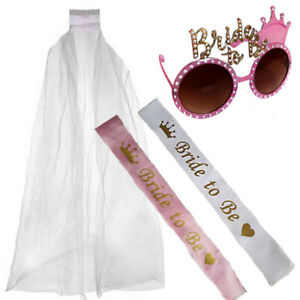 PINK-GOLD-BRIDE-TO-BE-GLASSES-SASH-amp-WHITE-VEIL-HEN-NIGHT-PARTY-DO-NOVELTY-KIT