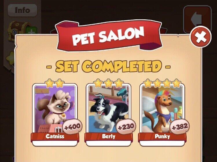 1 x Pet Salon full New Set ( Fast sending ) :- Coin Master Cards