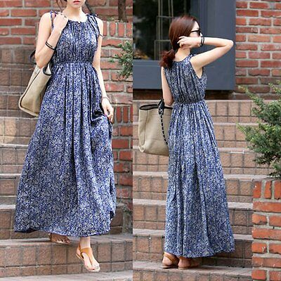 Women Summer Casual Boho Long Maxi Evening Party Dress Beach Dresses Sundress