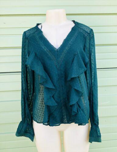 NWOT ZARA Green Dotted mesh top V neck semi sheer matching trims ruffles size M