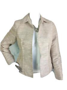 Kasper-Women-s-Suit-Jacket-Blazer-Career-Dress-Beige-Brown-Open-Front-2P-Small