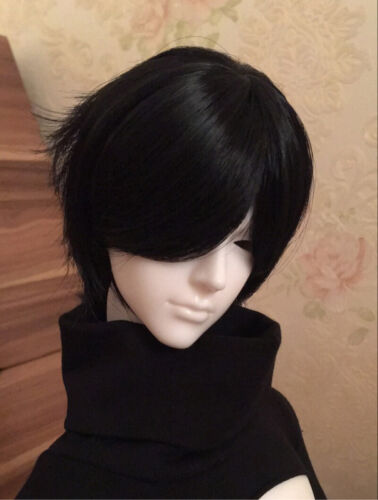 "9-10/"" 1//3 PULLIPD SD BJD Wig 22-24cm White//Black Handsome Short Wig HairCosplay"
