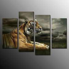 Animal Canvas Print Picture Wall Art Decor Tiger For Living Room -4pc No Frame