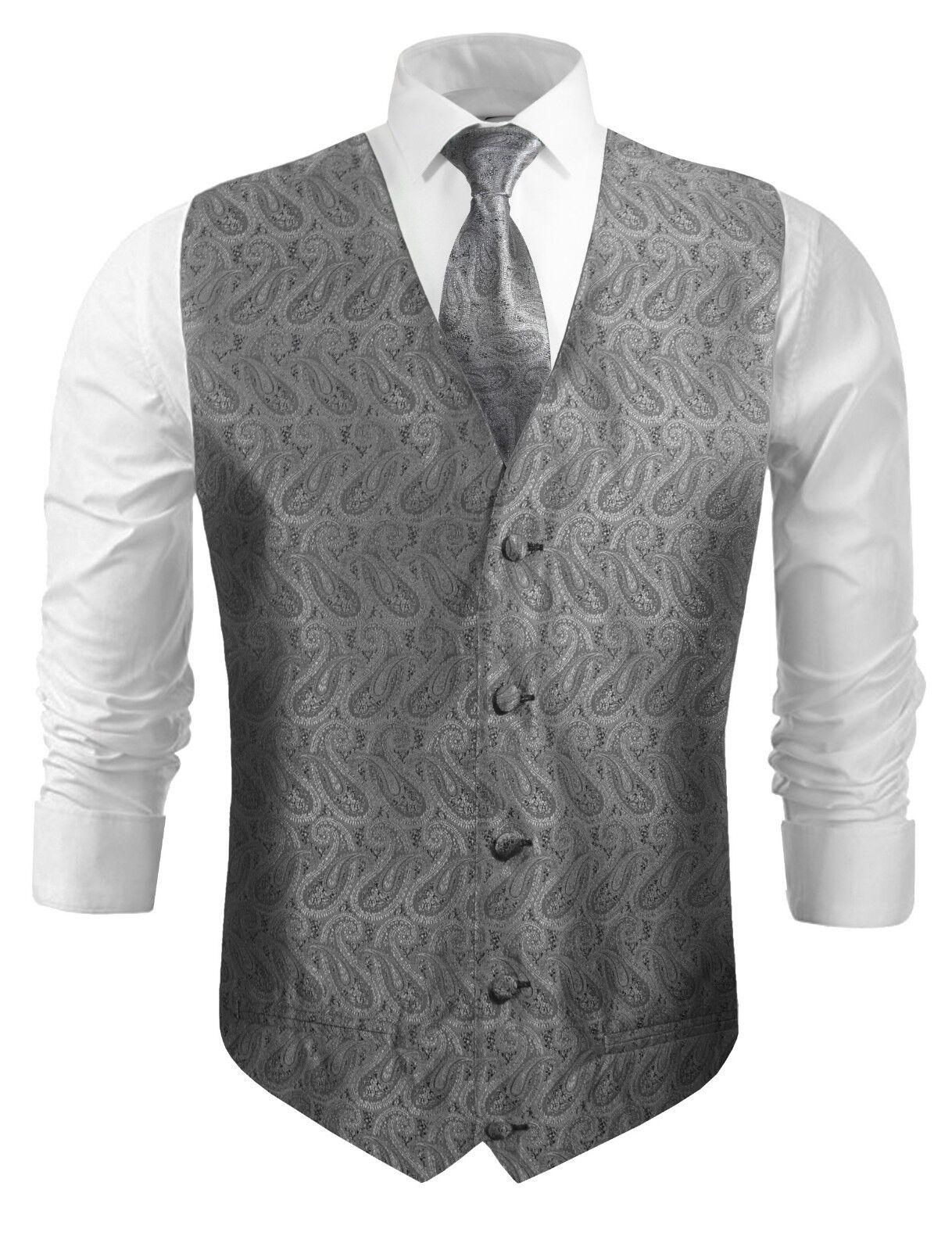 Paul Malone Hochzeitsweste mit Krawatte schwarz silber grau paisley v30
