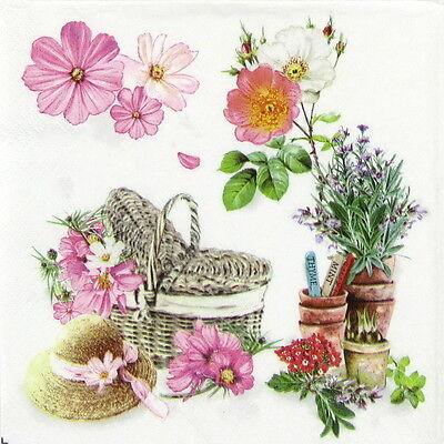 4x Single Table Party Paper Napkins for Decoupage Craft Vintage Romantic Garden