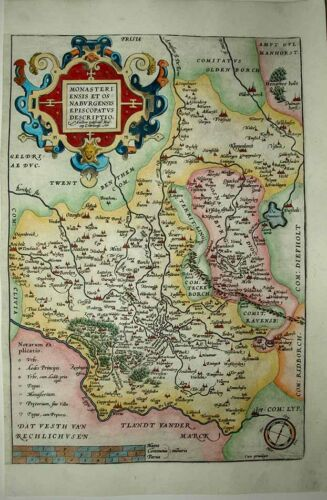 1603 ORTELIUS Mascop Map Lower Saxony Münster and Osnabrück Region DECORATIVE!