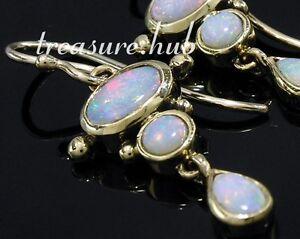 E080-EXQUISITE-Genuine-9ct-Yellow-Gold-Natural-Opal-Drop-Dangle-Earrings