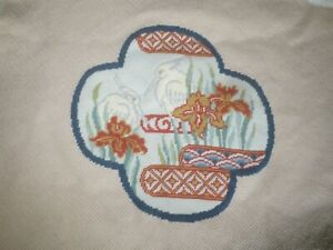 """PELICAN & IRISES Wall Hanging or Seat Cover NEEDLEPOINT - Design 11.25"""" x 11.25"""""""