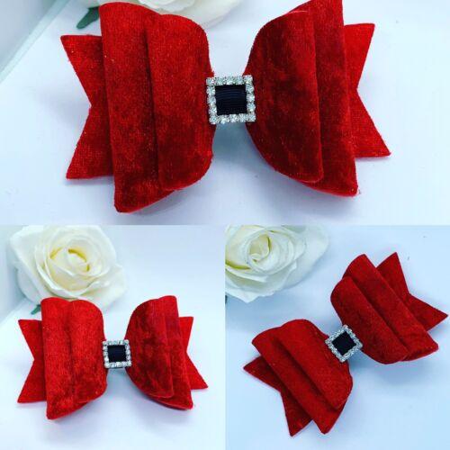 Hair Bow Christmas Red Red Velvet Dolly Bow