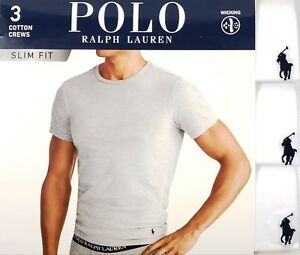 8952bd93 Details about Polo Ralph Lauren Men's White Slim Fit Crew-Neck Moisture  Wicking T-Shirt 3 Pack