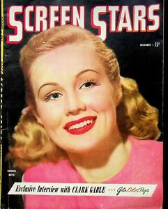 "Vintage Original December 1945 ""Screen Stars"" Magazine Gable Virginia Mayo m1312"