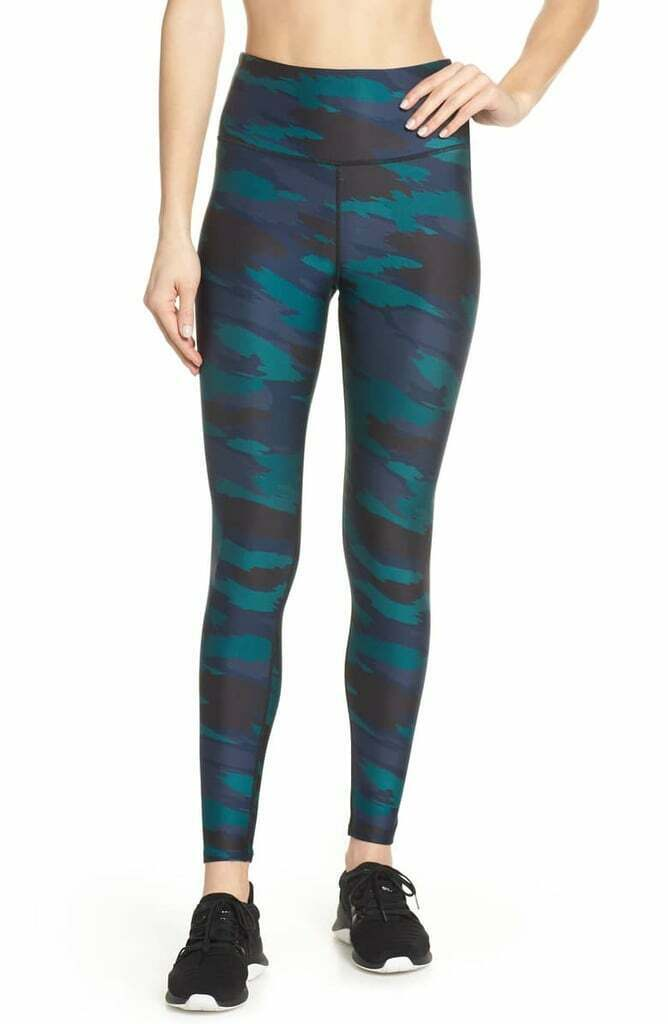 Soul By SoulCycle Podium Camo Print Leggings Green Blue High Waist S Small RARE
