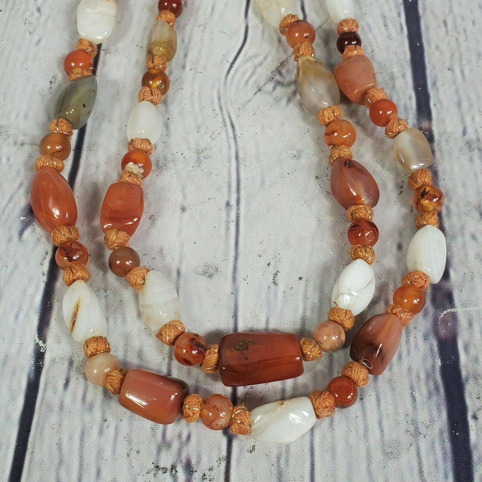 43 Inches Long Carnelian and Fire Agate Bead Long Necklace