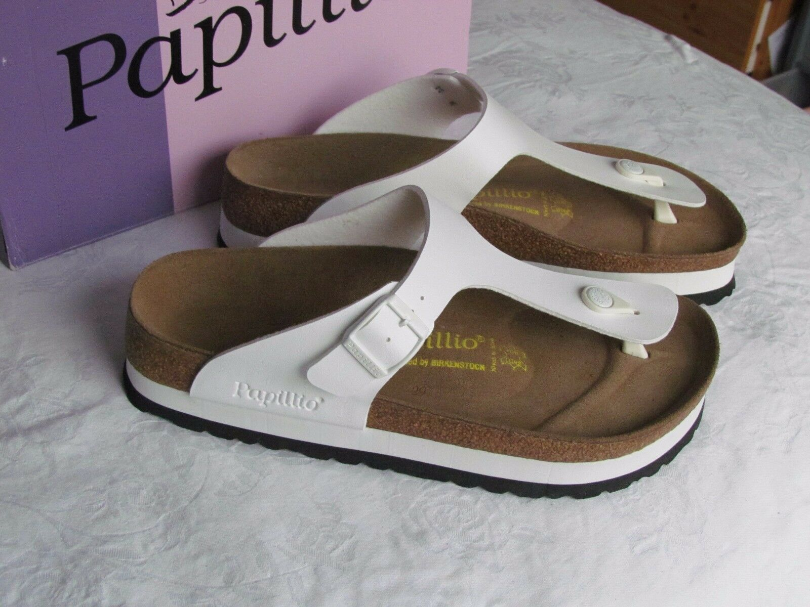 NEW Papillio Gizeh Ladies White White White Platform Toe Post Mules Sandals Size 7.5 EU 41 ad4a7b