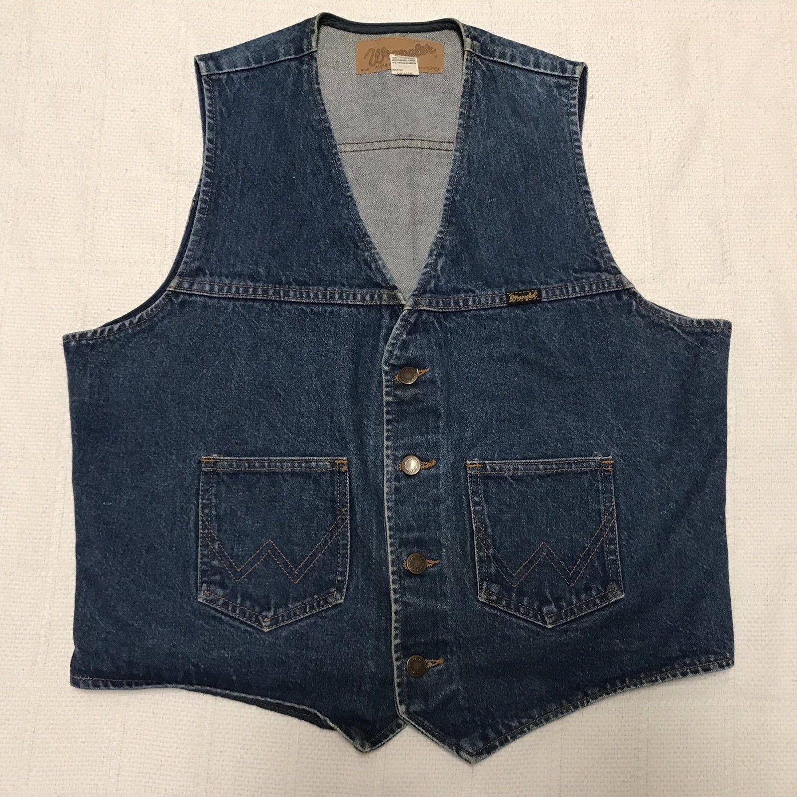 Vintage Wrangler Western bluee Denim Vest Mens Size Large (J10)