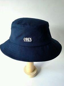 NEW-OBEY-World-Wide-Bucket-Hat-Navy-Blue-One-Size-Flexfit-MSRP-44-00
