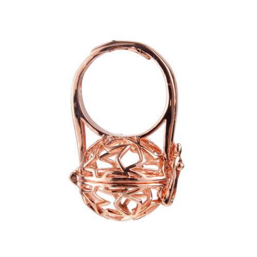 Femmes or//argent plaqué perles cage boule laiton anneaux Cadeau Bijoux